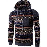 2017 Hooded Men Hooded Tops Fashion Geometry Print Stitching Sweatshirts Slim Men S Slim For Men
