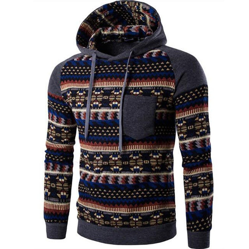 2017 Hooded Men Hooded Tops Fashion Geometry Print Stitchings