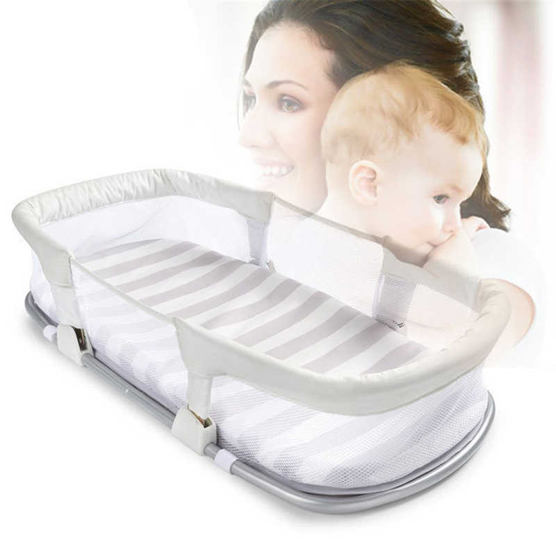 Portable Baby Bed Cribs with Mattress Newborn Safe Cot Foldable Infant Travel Portable Folding Metal Baby Bed  0-12M