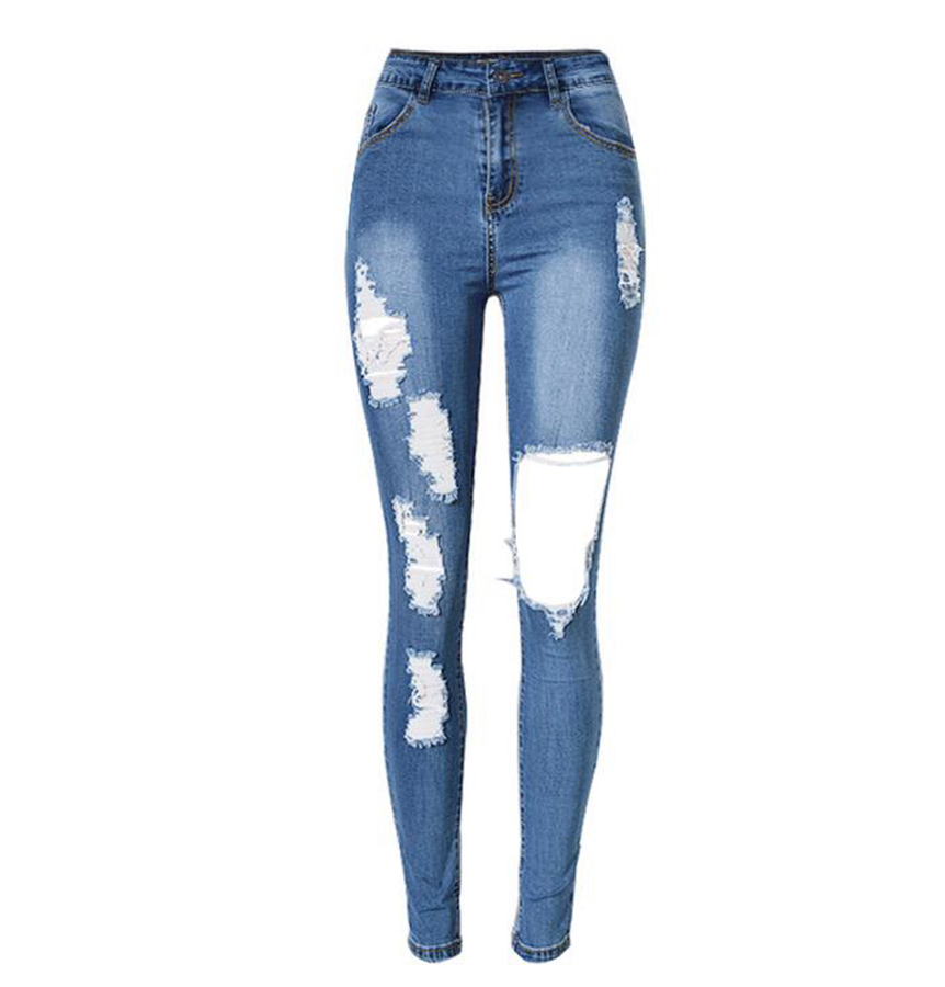 new 2017 hot fashion ladies cotton denim pants stretch ripped skinny jeans in jeans from women 39 s. Black Bedroom Furniture Sets. Home Design Ideas