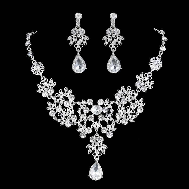 2016 New Red White Crystal Silver Plated Necklaces Earrings Rhinestone Bridal Jewelry Sets Wedding Gift For Women ABC