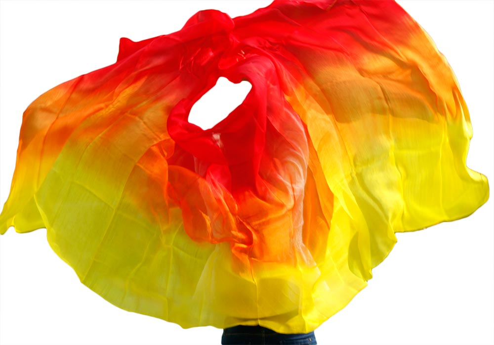 New Design 100% Real Silk Belly Dance Veil, Cheap Dance Veils,tari Perut Kostum Veil Wholesale 250 270*114cm Yellow+red+Orange