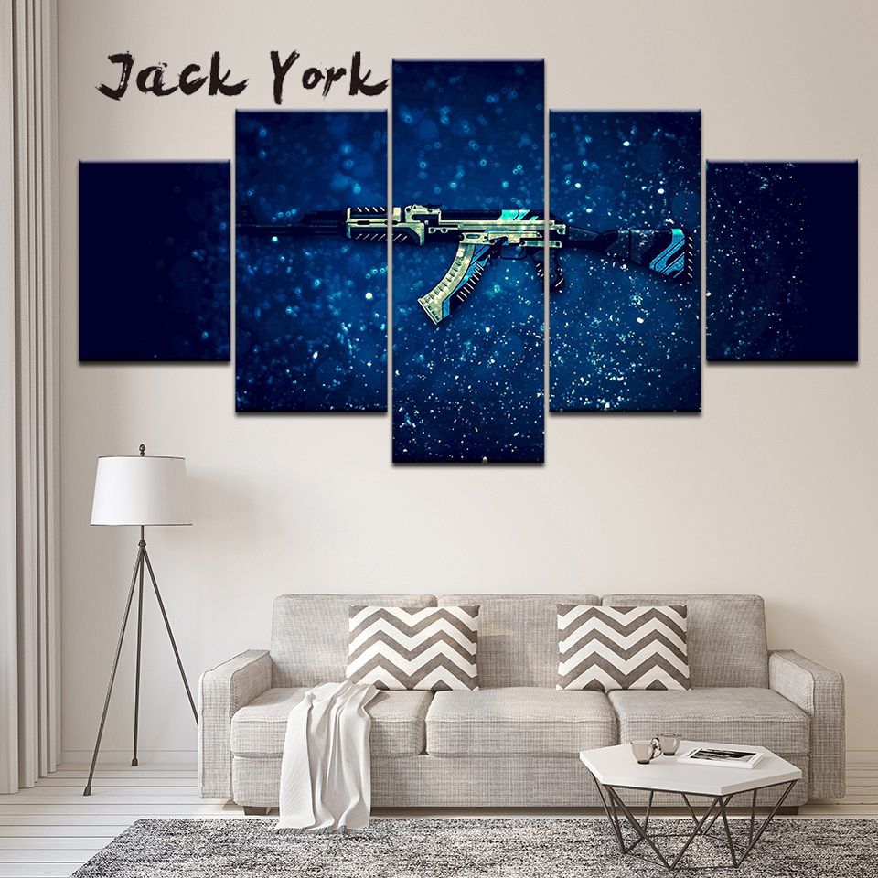 Canvas Painting Gaming gun with blue background 5 Pieces Wall Art Painting Modular Wallpapers Poster Print Home Decor