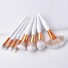 4/8pcs Makeup Brush Set Super Soft Synthetisch Hoofd Houten Handvat borstels Wit Fan borstel set Vrouwen Foundation gezicht make up tool