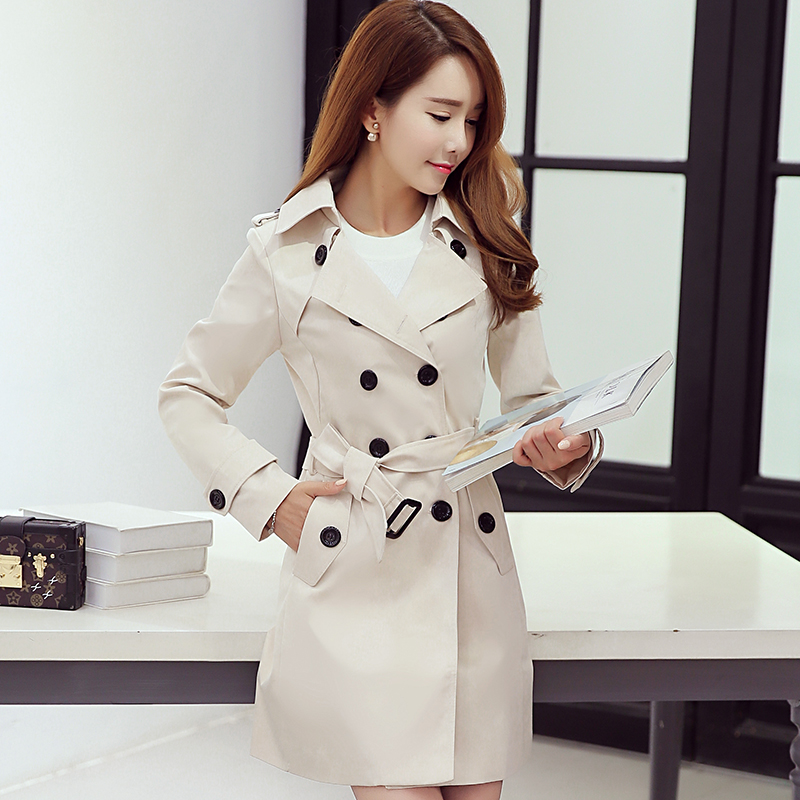 Spring/autumn   Trench   Coat Double Breasted   Trench   OL Ladies/women Windbreakers Long   Trench   Coat For Women Plus Size 5XL Overcoat
