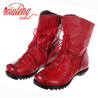 2017 High Quality Mujer Chaussure Women Genuine Leather Boots Casual Ladies Martinshoes Spring And Summer Flat