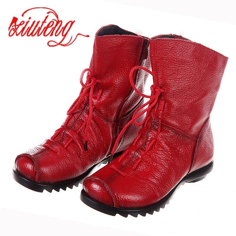 Xiuteng/2018; Высокое качество; Mujer Chaussure; Женские ботинки из натуральной кожи; Повседневные женские ботинки Martinshoe; Летние ботинки на плоской подошве; Большие размеры|Сапоги до середины голени|   | АлиЭкспресс