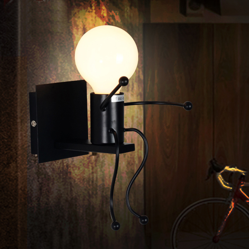 Modern Simple novelty creative Iron man Wall Lamp for Cafe  Bar living room E27 AV90-265V 8006 cafe cafe iced by cafe for man туалетная вода 30 мл