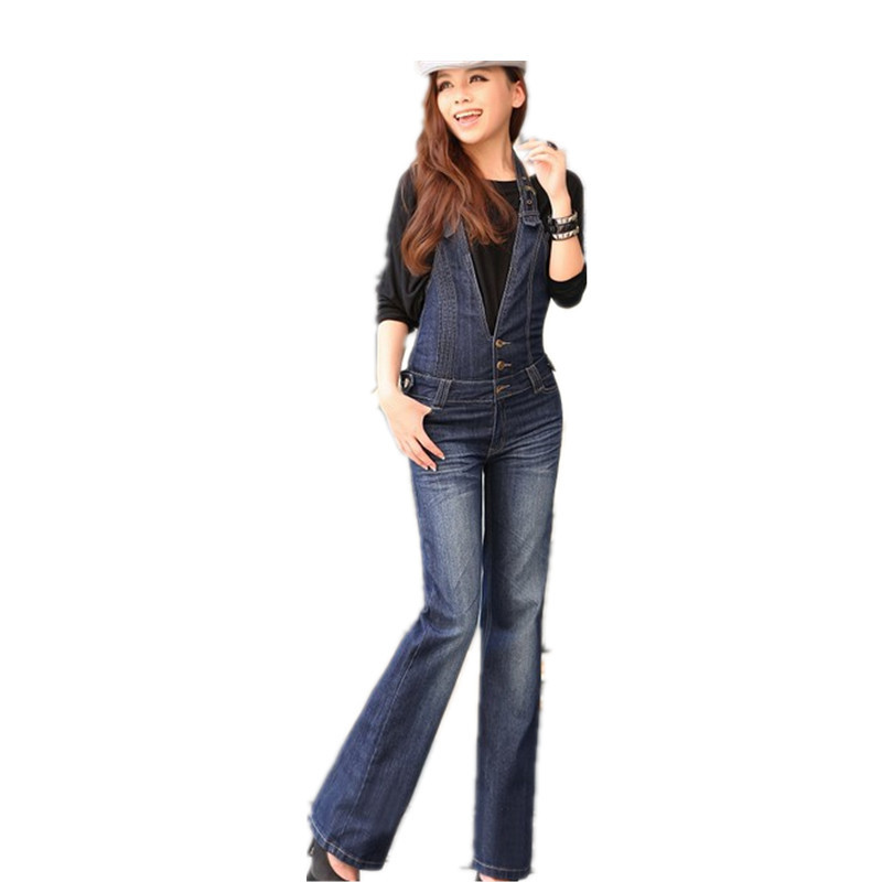 ФОТО Free Shipping 2016 Plus Size Denim Bib Pants Halter-neck Jumpsuit And Rompers For Women Suspenders Jeans ol Straight Trousers XL