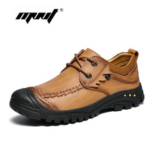 Купить с кэшбэком Fashion Bottom Stitch Men Casual Shoes Full Grain Leather Lace Up Ankle Shoes Men Anti Skid Outdoor Men Shoes