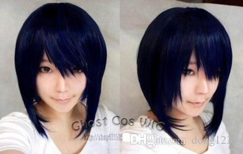 Free shipping New High Quality Fashion Picture wig >Dark blue mixed black anime role-playing wig cosplay blue-black short wig cosplay wig 2015 new movie princess cinderella wig long curly ash blonde anime cosplay wig free shipping