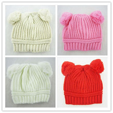 Cute Children Caps Dual Ball Knitted Baby Caps Boys Girls Toddler Crochet Beanie Hairball Ear Baby