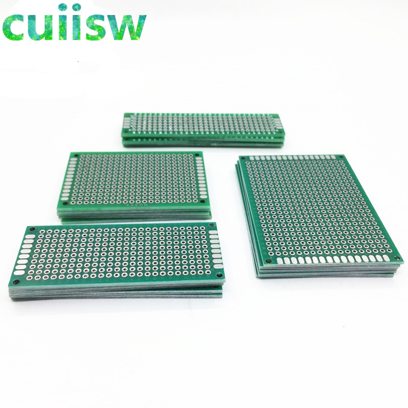 цена на 20PCS/LOT 5x7 4x6 3x7 2x8 CM Double Side Copper Prototype PCB Universal Board Experimental Development Plate For Arduino