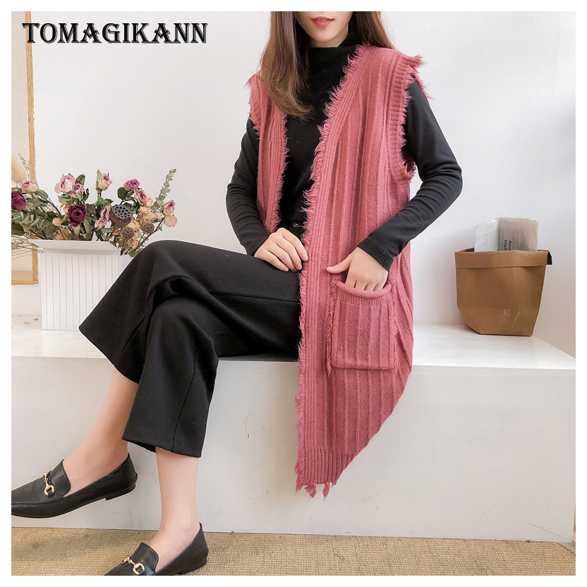 Solid Tassels Pockets Striped Women Knitted Vests Cardigan V Neck Sleeveless Open Stitch femme colete Sweater Waistcoat Tops in Vests amp Waistcoats from Women 39 s Clothing