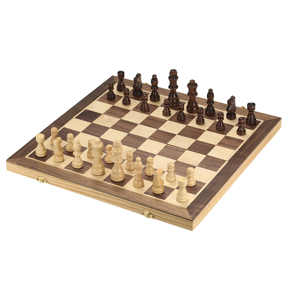 40*40cm Foldable Wooden Chess Set International Chess Entertainment Game Set Folding Board Educational Magnetic Chess-in Chess Sets from Sports & Entertainment    1