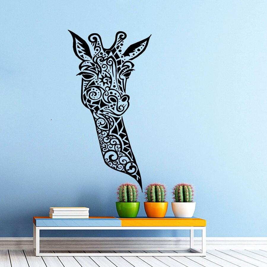 Giraffe vinyl wandtattoo giraffe tiere dschungel safari afrikanisch blumen dekor wandkunst wand