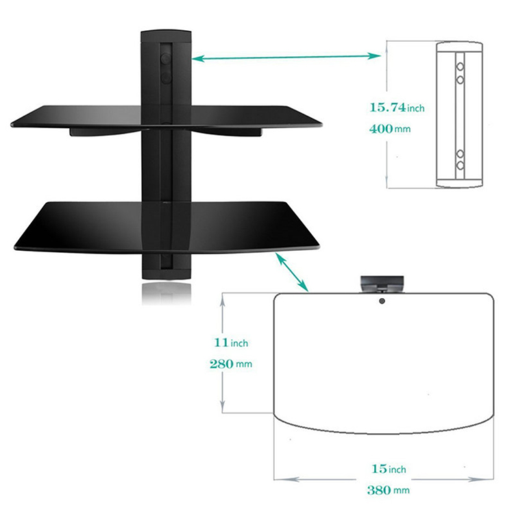 Dsupport Black 2 Floating Shelf with Strengthened Tempered Glass for DVD Players Cable Boxes Games Consoles TV Accessories in TV Mount from Consumer Electronics