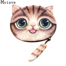 MOLAVE Coin Purse high quality Women Cute 3D Print Cat Girls Tail Coin Purse Plush Zipper coin purse woman 2017 dec18(China)