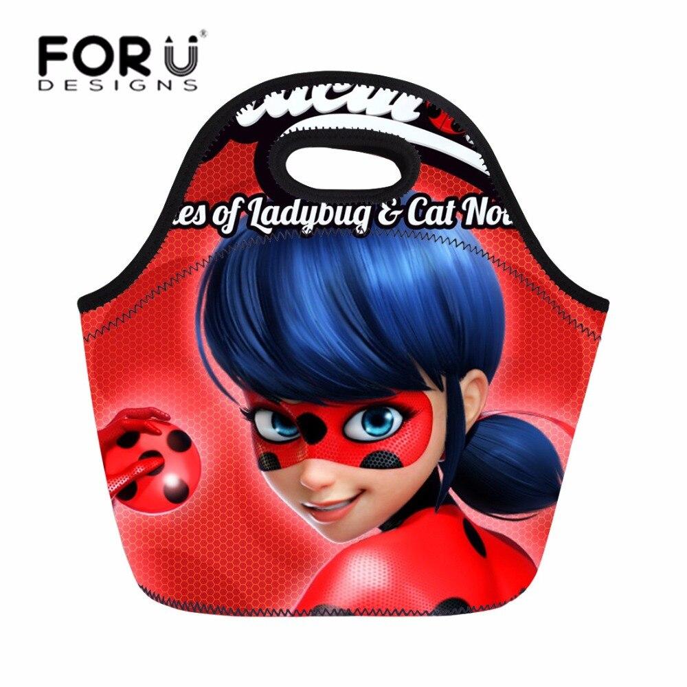 FORUDESIGNS Miraculous Ladybug Cartoon Children font b Lunch b font font b Bag b font Portable