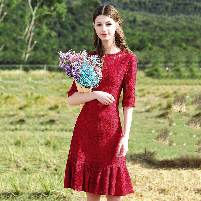 2019 automne élégant rouge demi manches robe femmes Sexy fête Maxi robe bureau dame o-cou coton Polyester Nylon robes décontractées