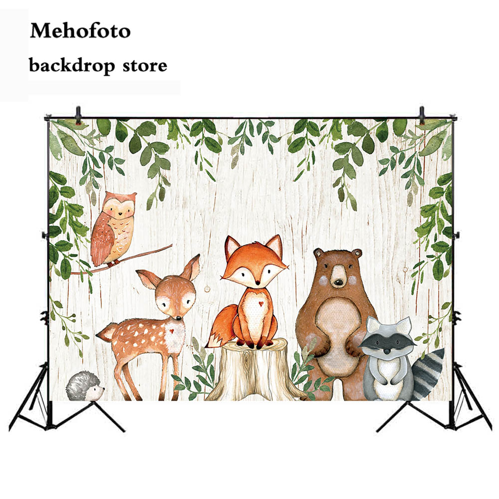 Animals newborn baby shower photo background Woodland party decoration banner fox bear backdrop for photography studio 438 in Background from Consumer Electronics