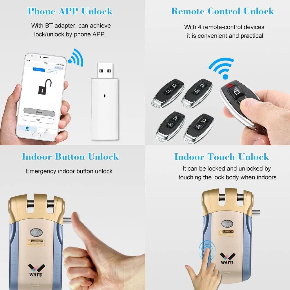 WAFU WF 010U Invisível de Segurança Sem Fio Porta de Entrada Keyless Bloqueio Inteligente iOS APP Android Desbloqueio com 4 Chaves Remotas - 3