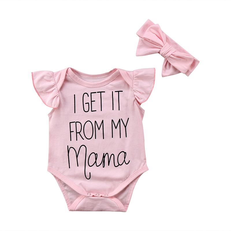 2PCS/Set Newborn Baby Girl Ruffles Sleeve Letter Print Cotton   Romper   Jumpsuit Headband Outfits Princess Baby Summer Clothes