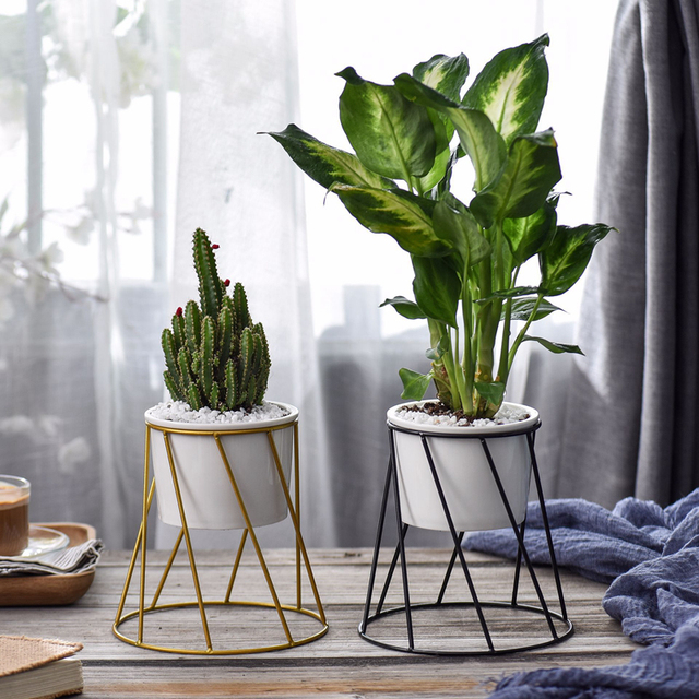 1 Set Modern Round Flowepot White Ceramic Desktop Planter Succulent