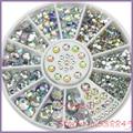New Hot  5 Sizes White round Acrylic 3D Nail Art Decoration Crystal Glitter Rhinestones 1NGM