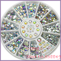 Nueva Caliente 5 Tamaños Blanco redondo de Acrílico 3D Nail Art Decoración de Cristal Del Brillo de Los Rhinestones 1NGM