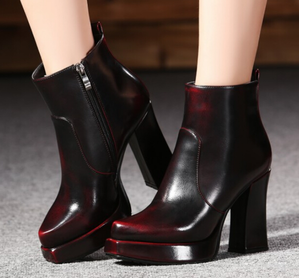 womens Boots Square Heel PU Leather Ankle Boots Martin High Heels Platform Shoes