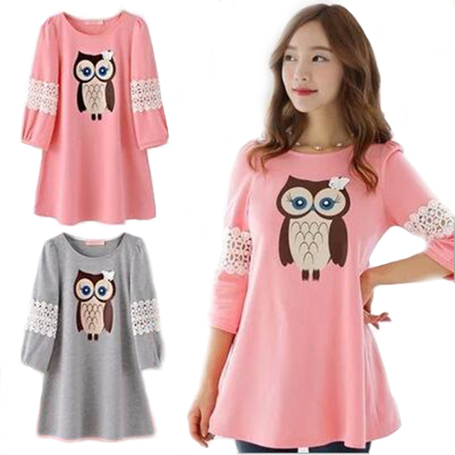 14968da60bdca US $10.99 |maternity Maternity Blouses For Pregnant Women Cute Owl  Maternity Clothes Spring Pregnancy Half Sleeve Cute Pregnancy clothing-in  Blouses & ...