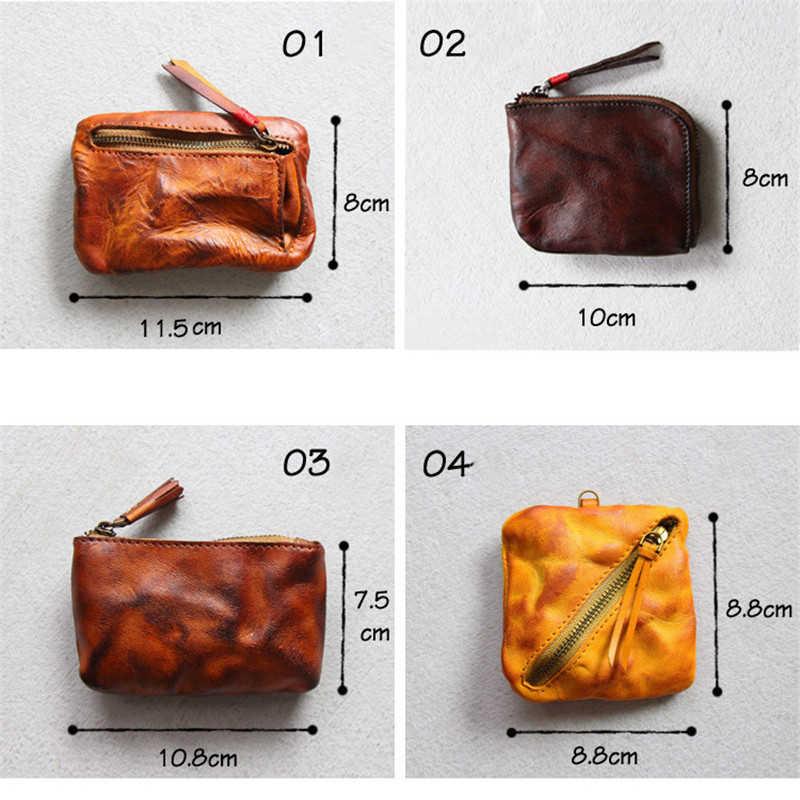 LEACOOL Individualidade Das Mulheres Dos Homens de Couro Genuíno bolsa de Moedas Pequeno Mini Bolso Saco de Dinheiro de Couro Caso Moeda 15 Estilo para Escolher