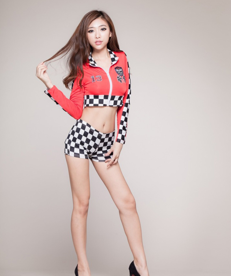 Sexy Uniforms Race Car Driver Halloween Costumes For Women COSPLAY Sex Game Clothing Close Crazy Sex Two-Piece Coat Underwear