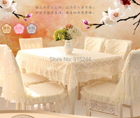 Hot-selling dining table cloth chair cover cushion rustic lace cloth crystal embroidered chair cover sets