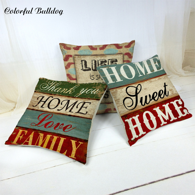 Designs Cushion Cover Sweet Home Shabby Chic Wood Cushion Covers ...