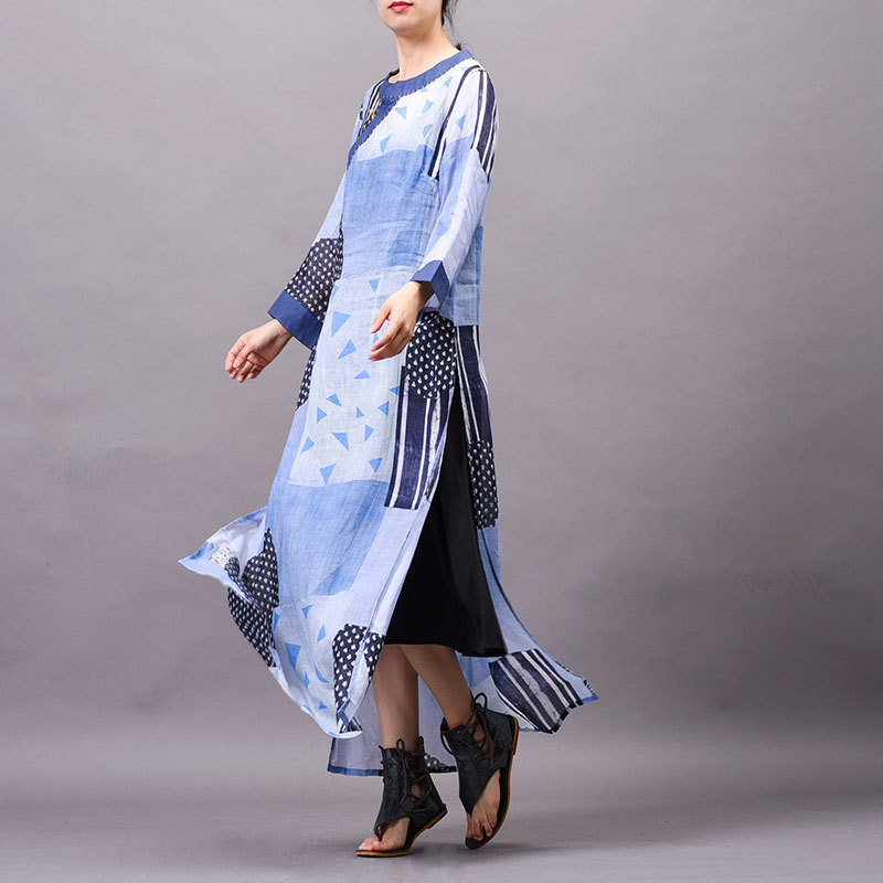 Ramie Women dress Summer cool New arrival Printed Buckle Embroidered speclic button personality vintage elelgant large size Robe