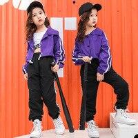 Girls Jazz Dance Suit Korean Coloured Jacket Fashion Hip hop Dancwwear Long Sleeve Street Dance Children's Day Performance