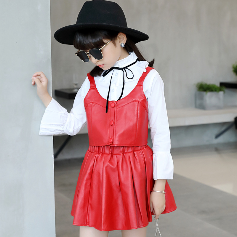 Kids Clothes Tracksuit Girls Clothes autumn girls clothing set PU Faux Leather Vest Skirt Blouse 3pcs Suit Children Clothing autumn girls clothes boys sport suit children clothing set kids tracksuit teenager baseball jersey 3 16 t kids clothes 2pcs lot
