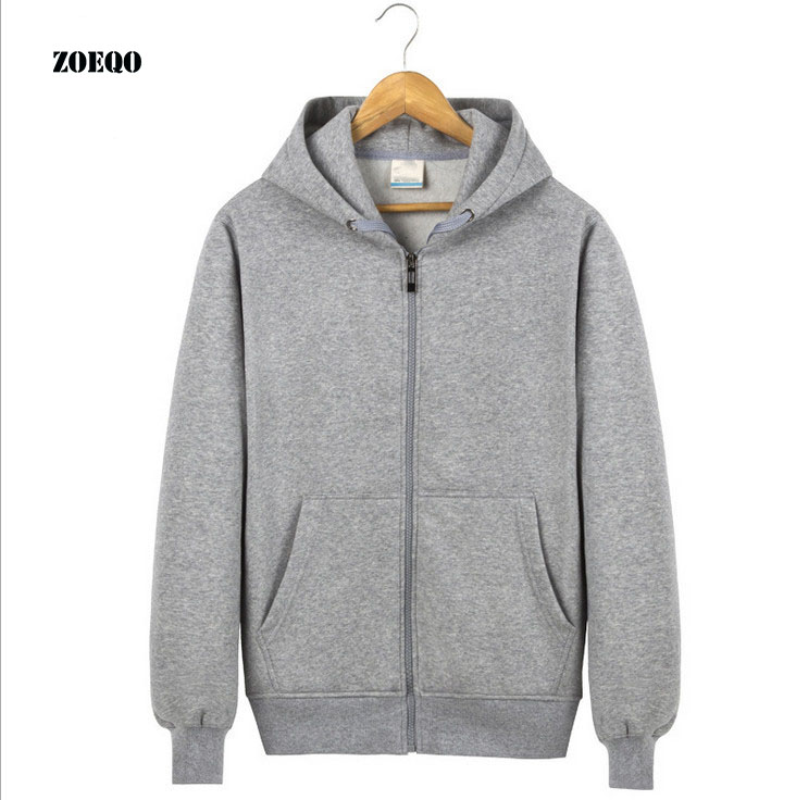 New men hooded fleece zip hoodie men thick solid color sweatshirt mens causel hoodies sportwear S-3XL SIZE hoodie