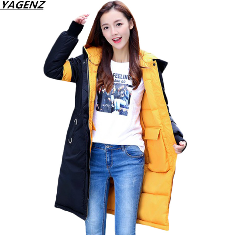 Women Coats 2018 New Winter Cotton Jacket Thick Warm Medium Long Outerwear Loose Hooded Sided Wear Women Clothing YAGENZ K721 2018 winter women jacket coats slim medium long down cotton hooded outerwear thick warm casual jacket student coat lady clothing