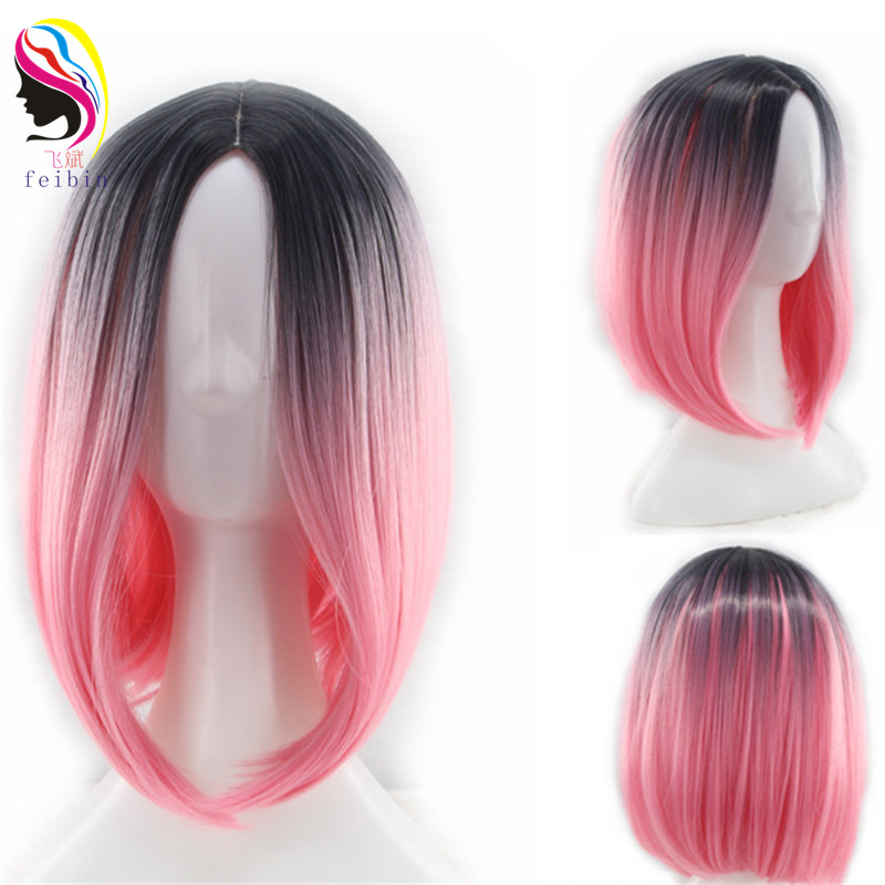 Feibin Short Wigs For Women Synthetic BOBO Straight Ombre Gray Blonde Colour Hair D07 in Synthetic None Lace Wigs from Hair Extensions Wigs