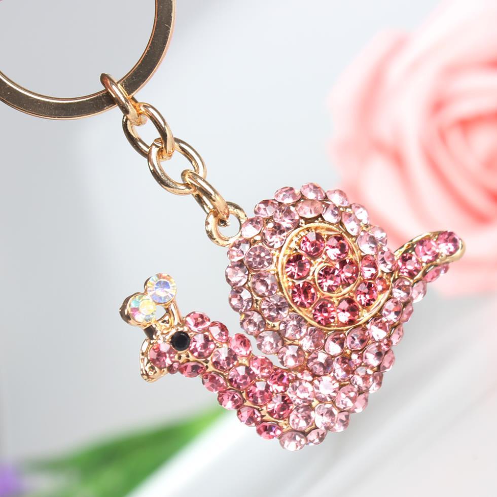New Pink Snail Cute Crystal Charm Purse Handbag Car Key Keyring ...