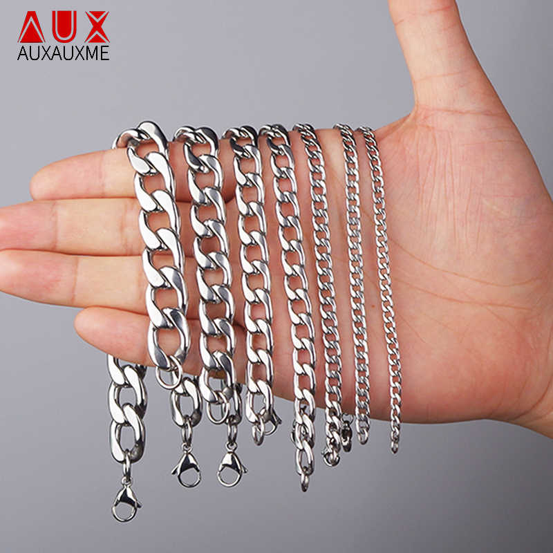 Auxauxme Punk 316L Stainless Steel Cuban Chain Bracelet For Women Men Curb Cuban Link Bracelet Hip Hop Jewelry Color Never Fade
