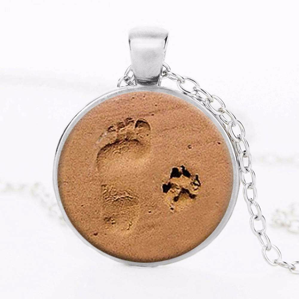 Famshin dog lover necklace dog paw pendant paw print jewelry paw and famshin dog lover necklace dog paw pendant paw print jewelry paw and footprint pendant gift for dog lover gift free shipping in pendant necklaces from aloadofball Images