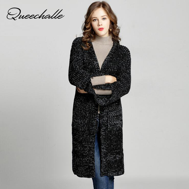 b74f6a3e57 Queechalle Autumn Cardigan Sweater Coat Women s Large Size Knitted Oversized  Sweaters XL XXL 3XL 4XL 5XL