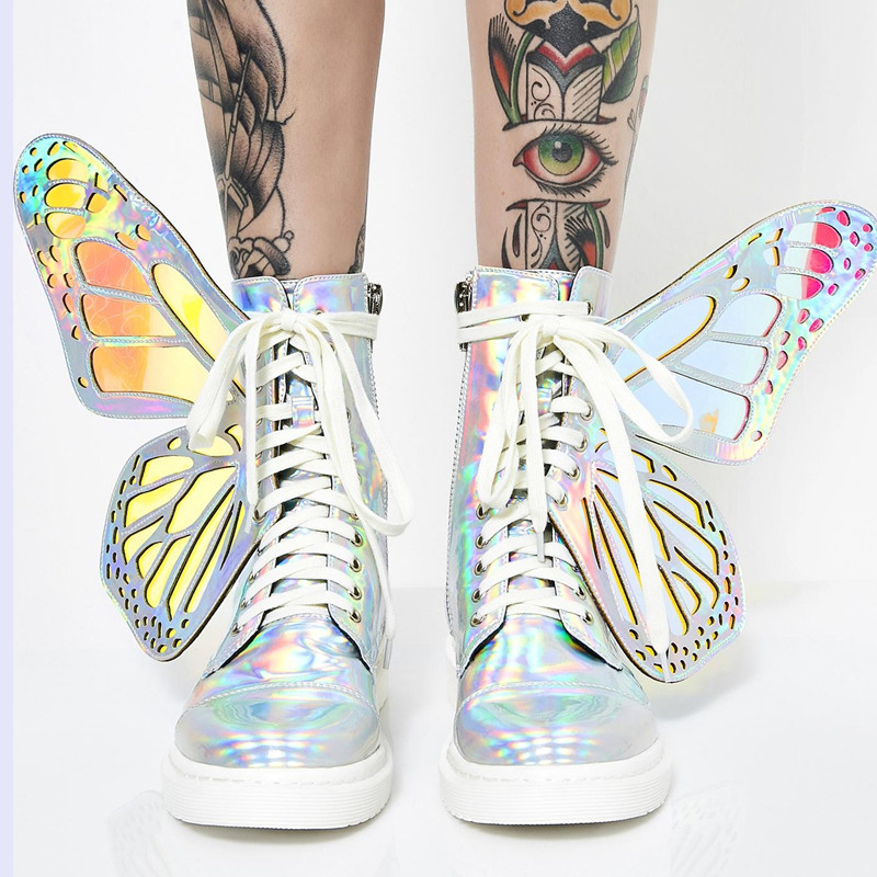 Women Shine Silver Short Boots with Butterfly Wings Fashion Flat Chelsea Booties Shoes 2019 New Ladies