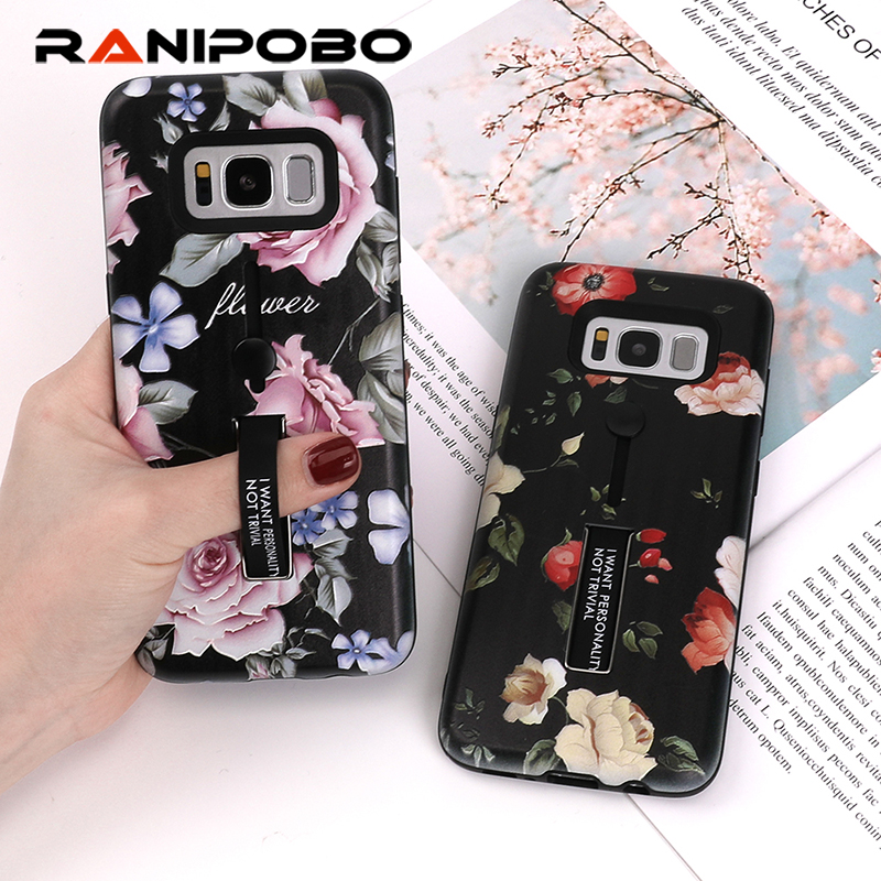 Classical Flower silicon Ring Phone Cases For iphone 8 7 6 6s Pl us Case For Galaxy S8 S9 Plus Hide Stand Holder Cartoon Cover