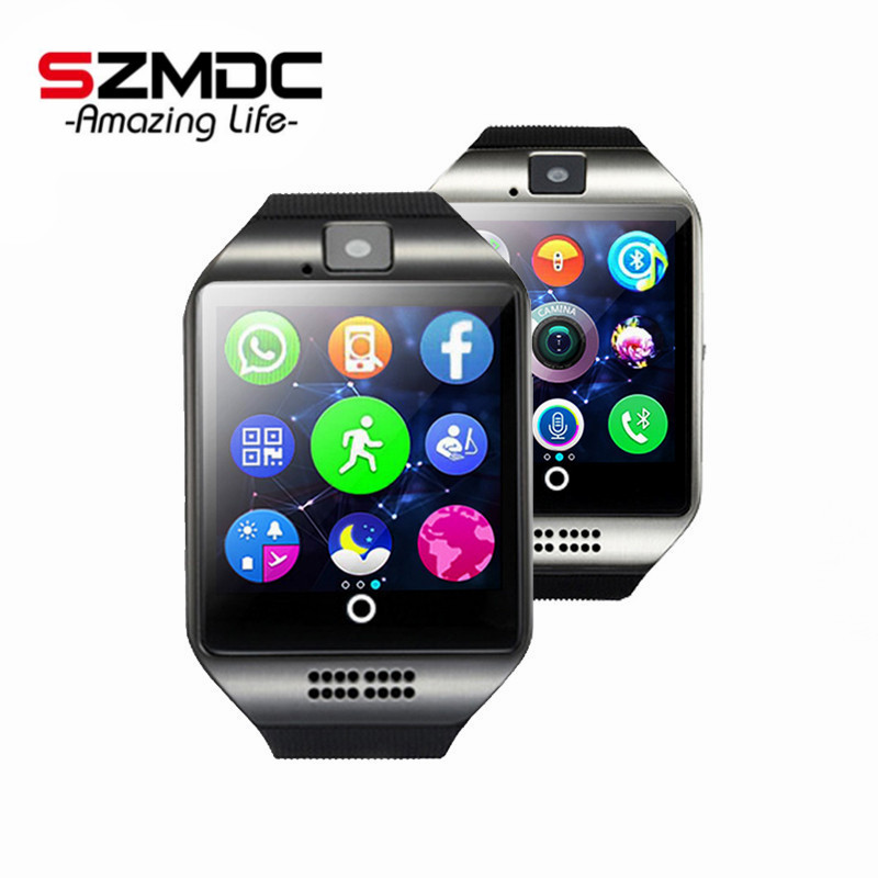Free shipping SZMDC Q18 Passometer Smart watch with Touch Screen camera TF card Bluetooth smartwatch for