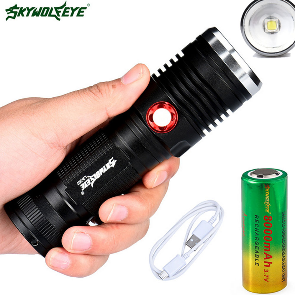 Zoomable LED Flashlight 18650 26650 Torch Waterproof Flashlight chargeable XML L2 10000 lumen Light Camping hunting 3 pcs brightest tactical flashlight 8000lm xml l2 led flashlight high powered zoomable torch for emergency camping hiking
